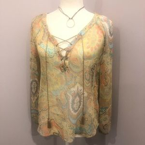 Ladies paisley lace up sheer blouse